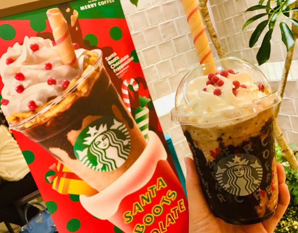 【スタバ新作】遊び心満載♡ストローが食べれる!《サンタブーツ チョコレート フラペチーノ®︎》_5