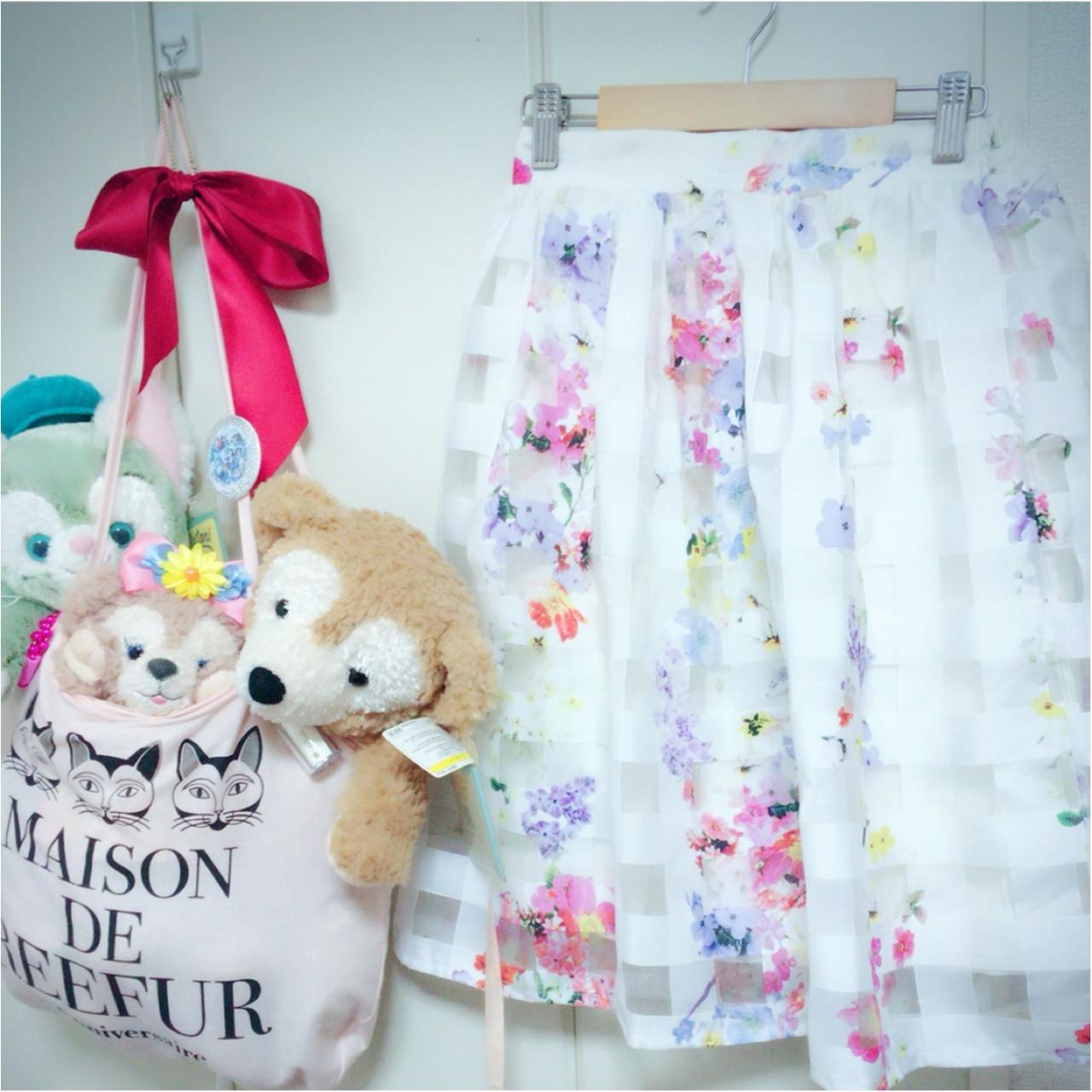 華やぎOLはスカートで作る!tocco closetのシアーチェック×フラワーオーガンジースカート♡_1