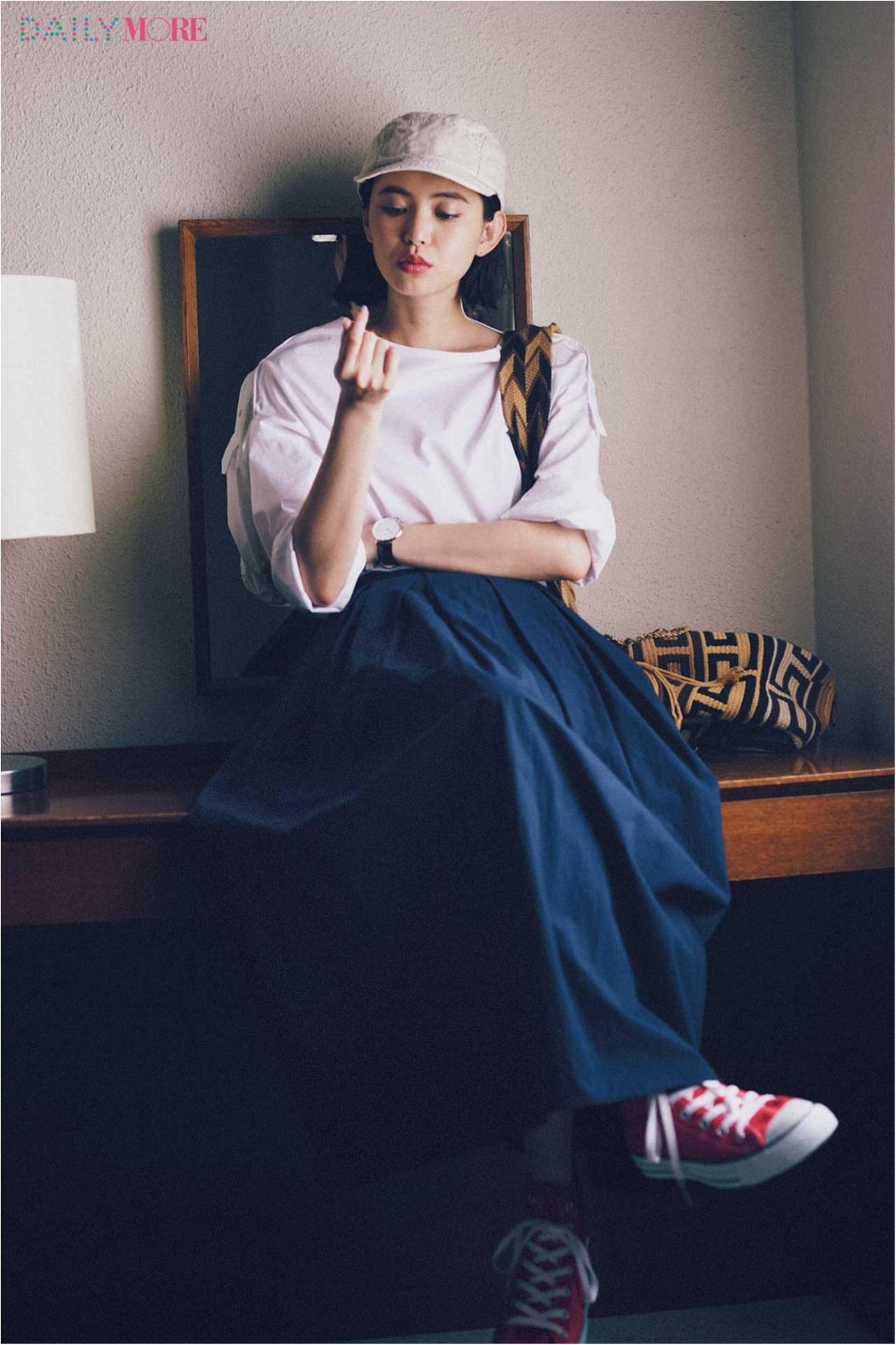 【今日のコーデ/比留川游】ネイビーのフレアスカートにしてみたら、休日のカジュアルコーデがうんと素敵に♡_1
