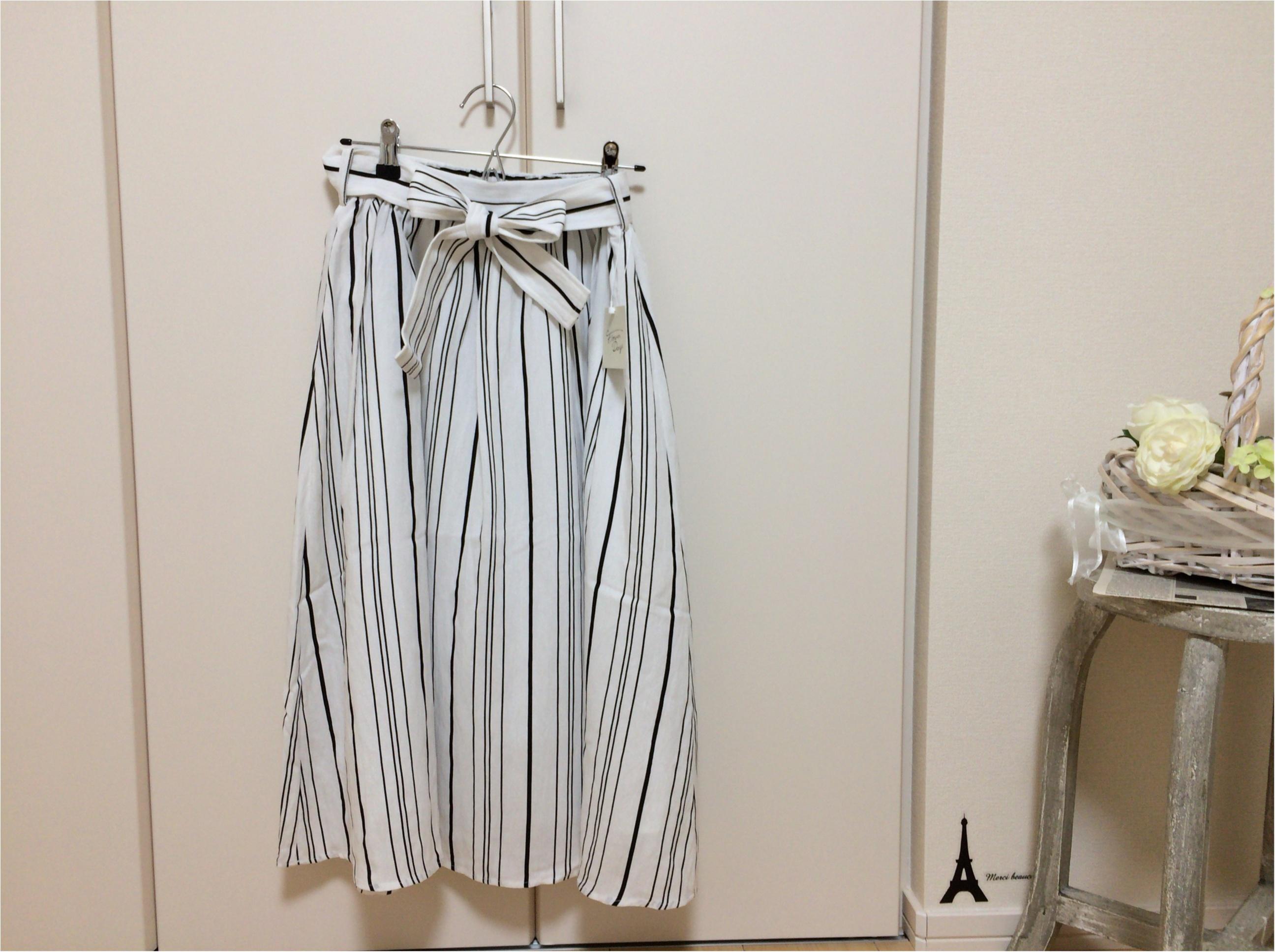 佐藤ありさコラボ服『FlowerDays』流行《ストライプ》リネン風スカートは着回しも着心地も楽チン!_6