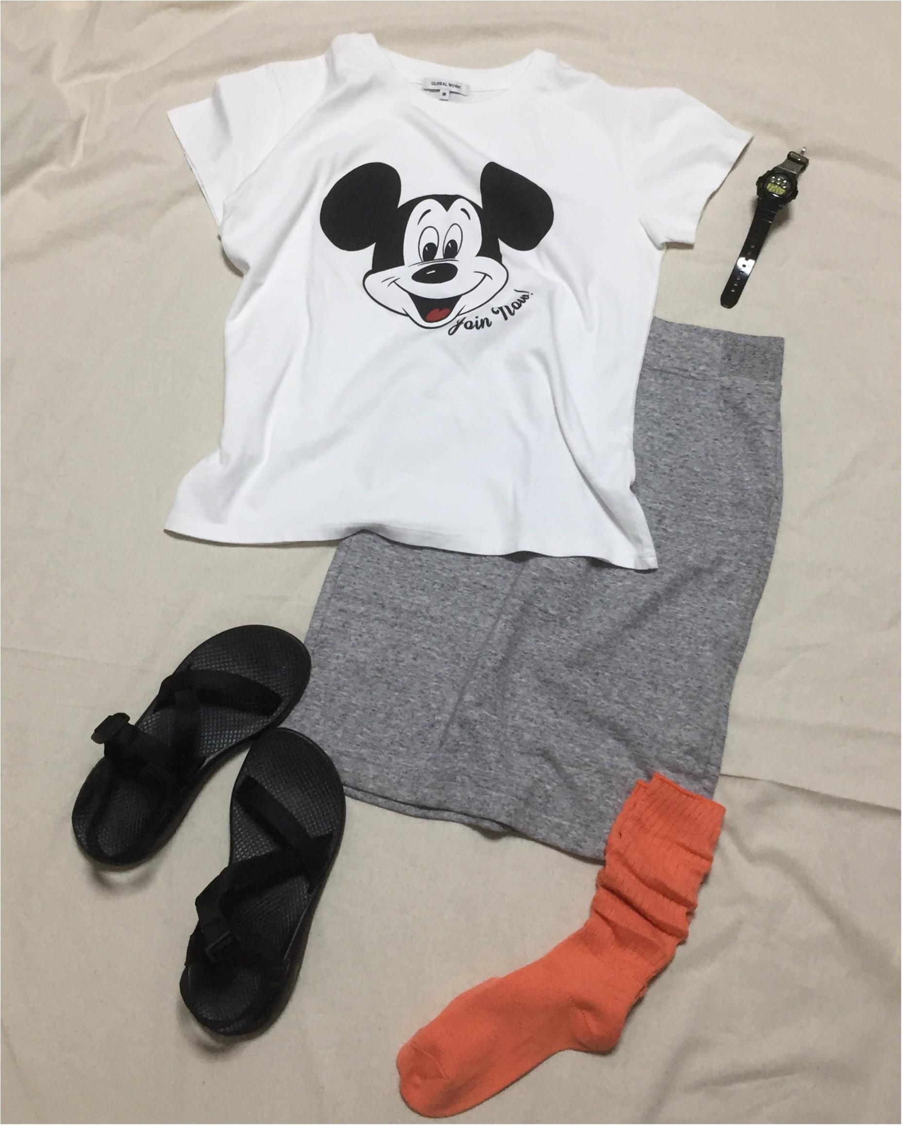 【GLOBAL WORK】念願のミッキーTシャツをGET!スポーツmixコーデ_1