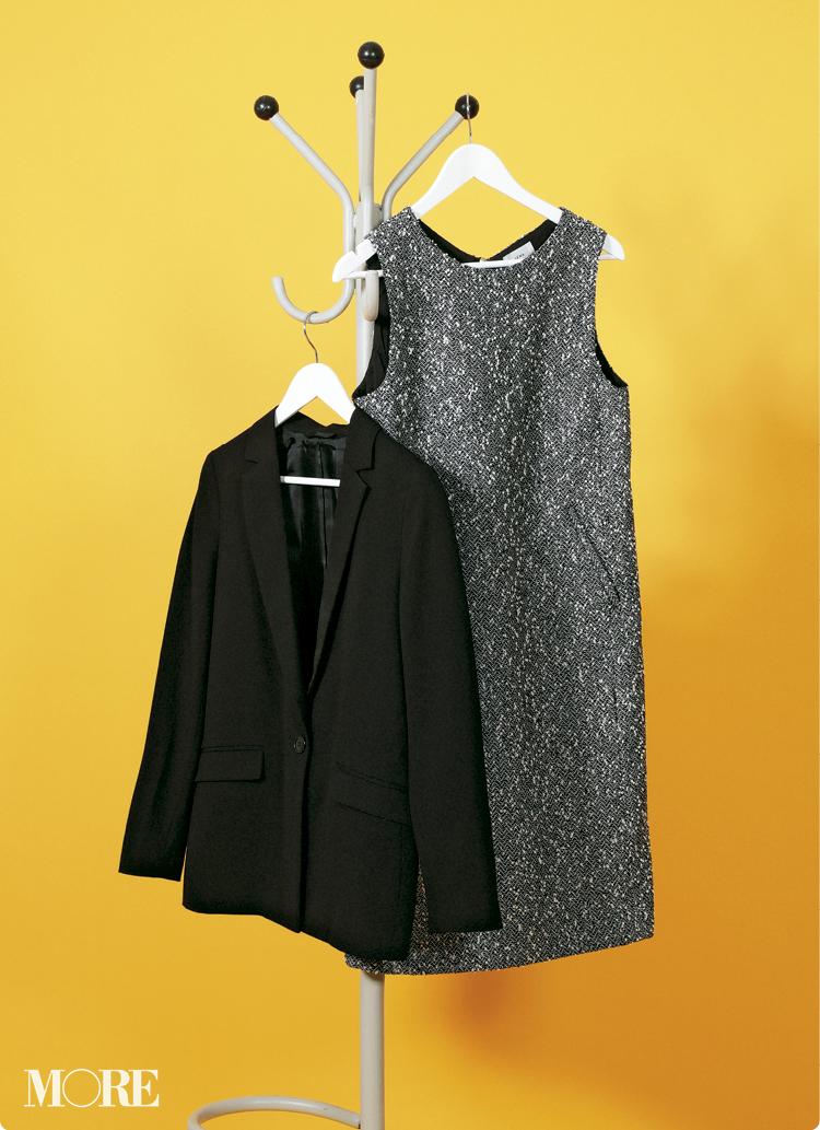 イエナのツイードワンピースとGUのジャケットできちんときれいなオフィス服