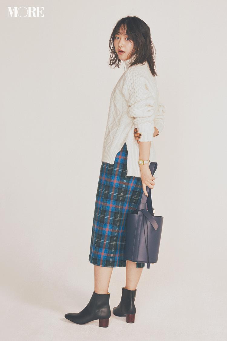 """【今日のコーデ】プチプラでも最旬になれる""""きれい色のチェック柄スカート""""でランチ女子会へ♪_1"""