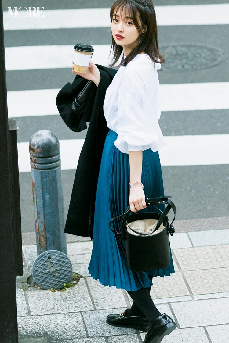 【今日のコーデ】きれい色のプリーツスカートがあればいつもの通勤スタイルがぐっと美人に!_1