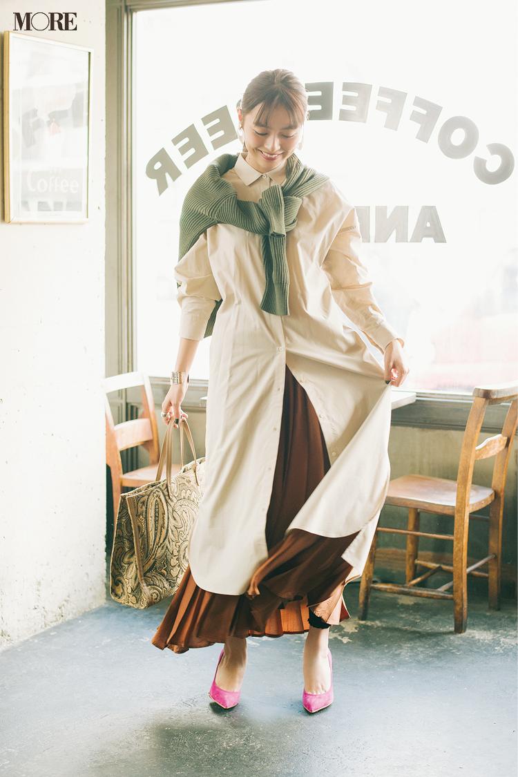 【今日のコーデ】<内田理央>ぽかぽか陽気の日は淡いベージュのシャツワンピースで春のアースカラーコーデに♪_1