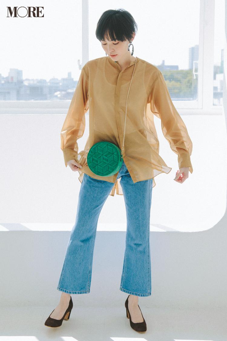 【今日のコーデ】デートびよりの土曜はシアー素材のシャツでデニムカジュアルをほんのり女っぽく♡ <比留川 游>_1