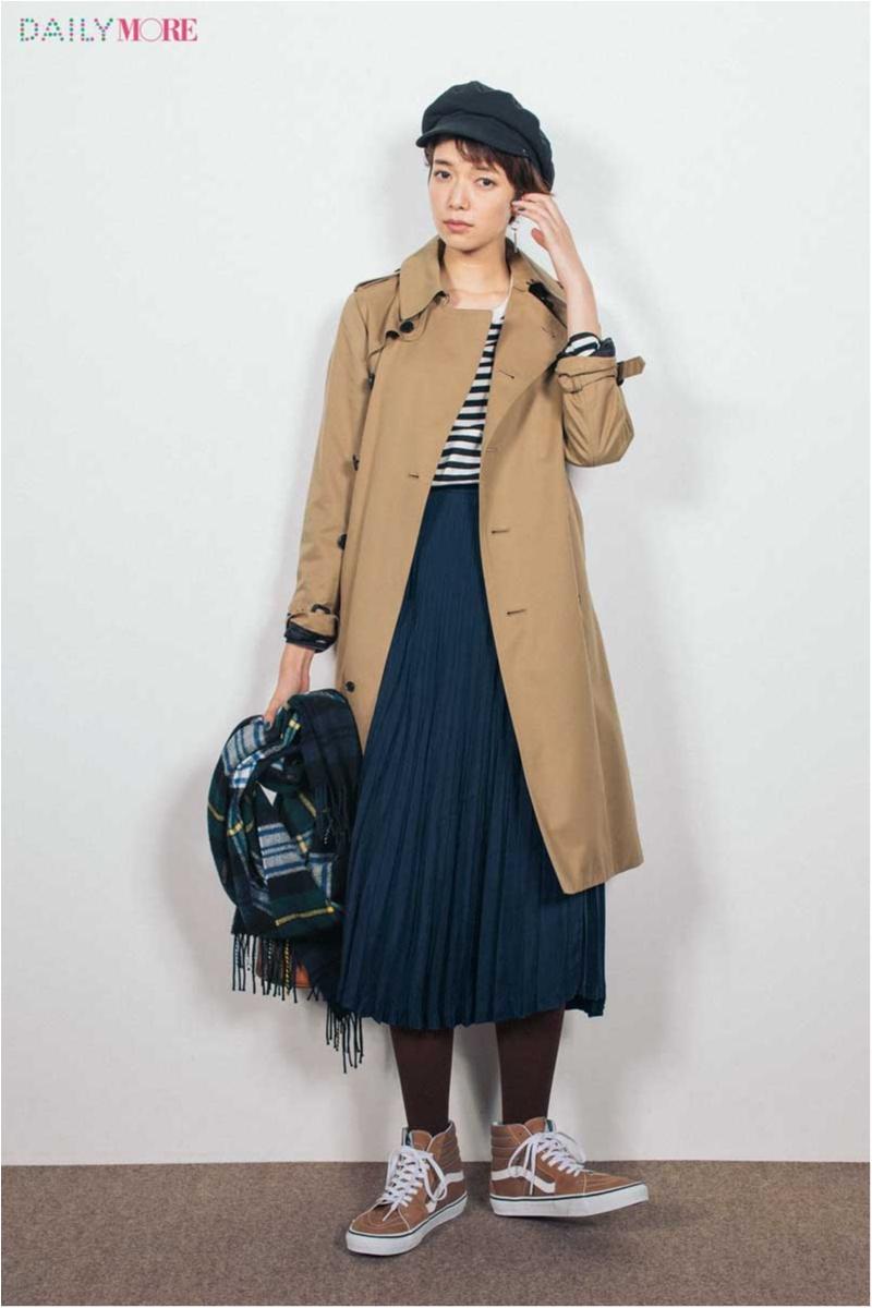 【今日のコーデ/佐藤栞里】フレンチシックなスカートコーデはタイツ×スニーカーで新鮮バランスに♪_1