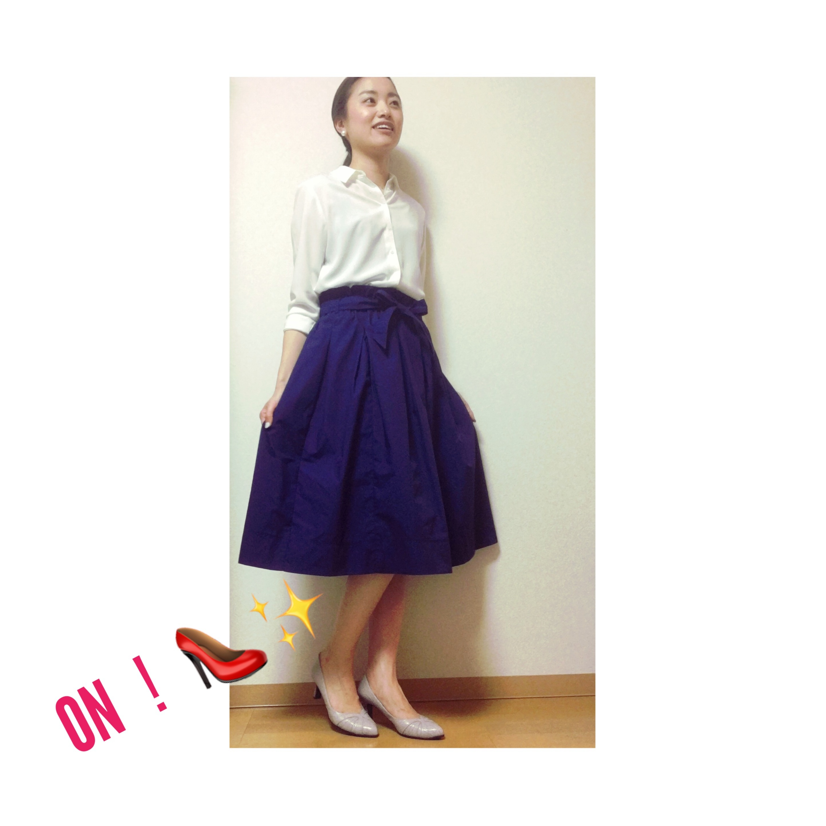 【UNIQLO】夏に向けていま買い足したい❤︎!ハイウエストベルテッドフレアミディスカート✨_2