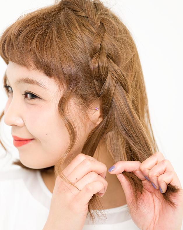 【美容師梅雨ヘアアレンジ】(3)ぺたんこヘアをレスキュー カール編み込みアレンジ_3