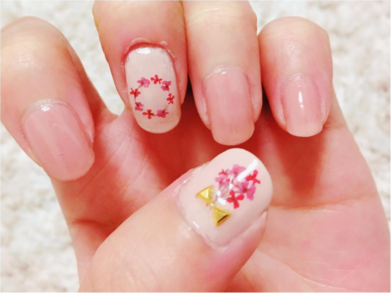 【キャンドゥ】ほぼ100均で春ネイル❤︎押し花ネイルがかわいい!_4