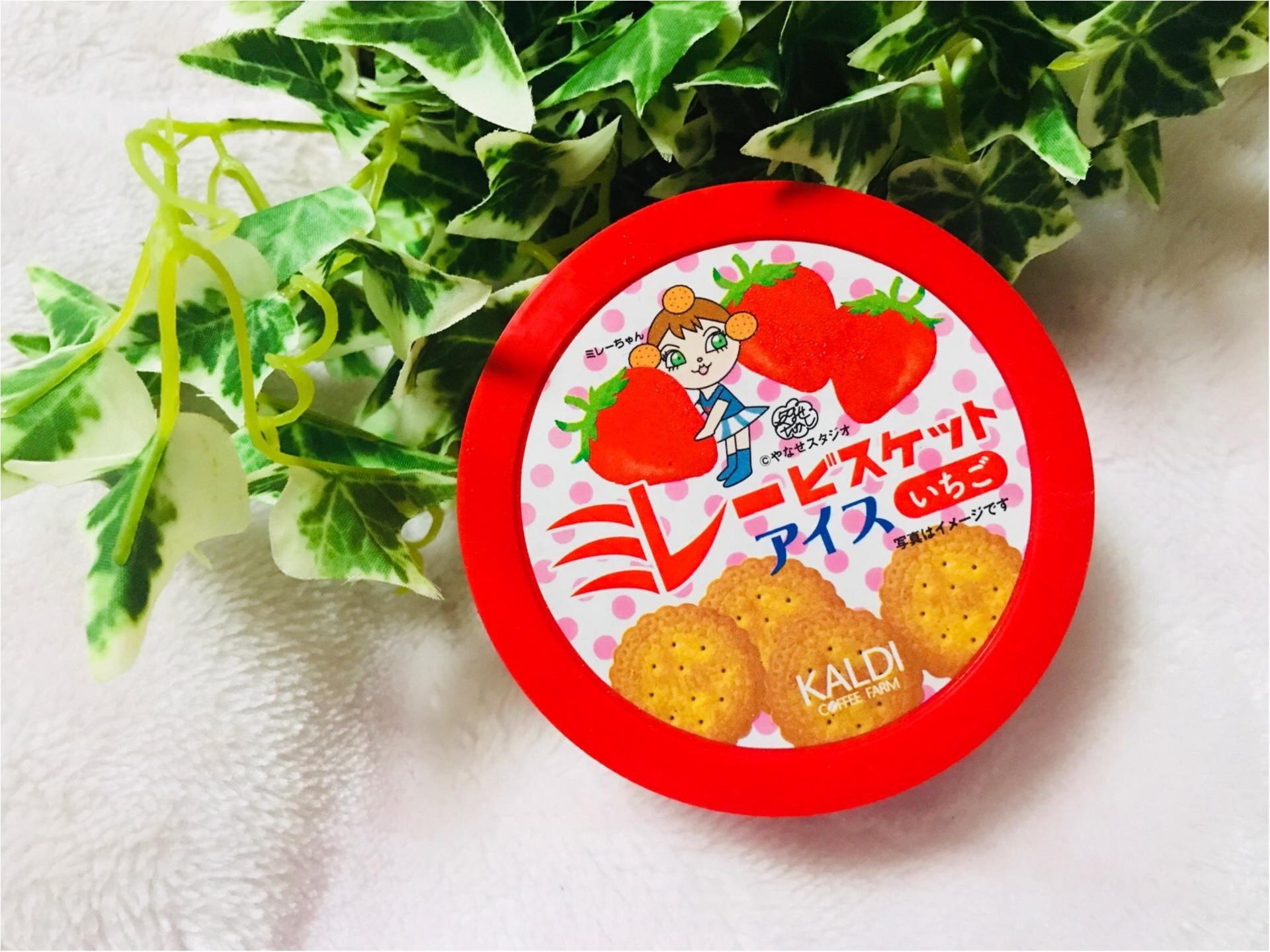 """【KALDI】あのご当地菓子《ミレービスケット》がアイスになっちゃった!カルディ限定で""""いちご味""""が新登場❤︎パッケージがレトロ可愛い♡♡_1"""