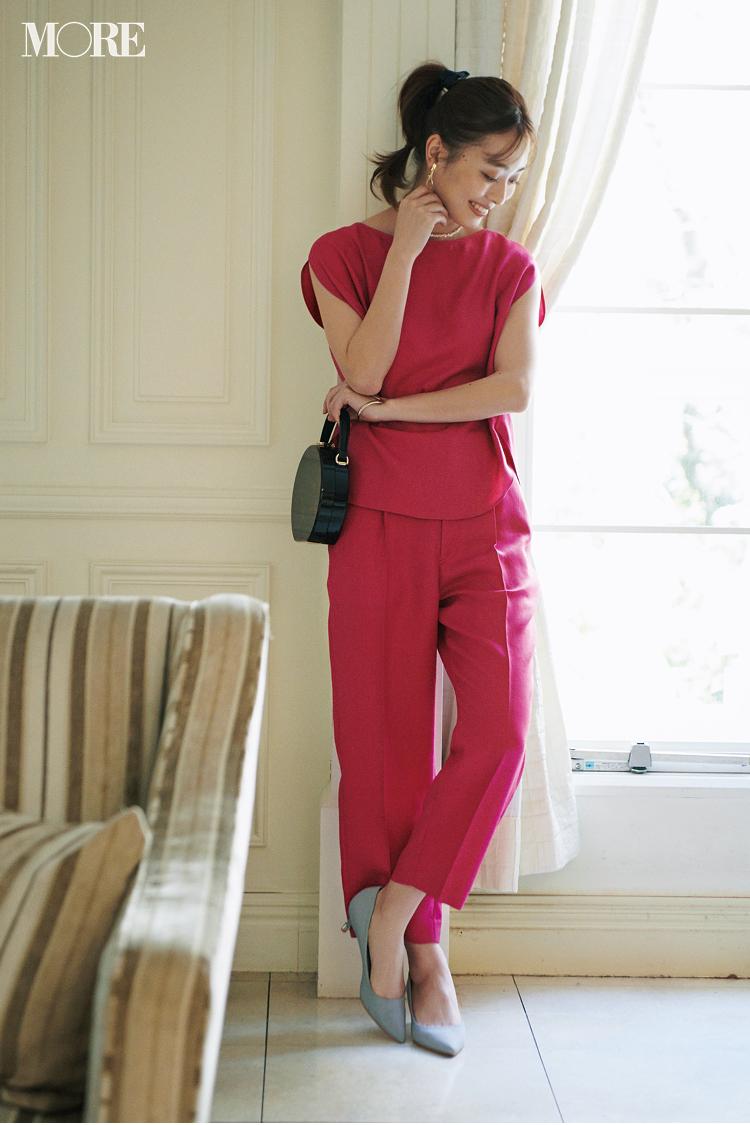 【今日のコーデ】同窓会は鮮やかなピンクのセットアップで。しかもパンツスタイルが新鮮でしょ♡ <内田理央>_1