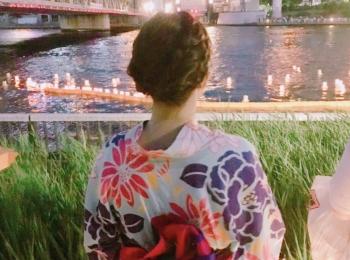 【隅田川】浴衣を着て灯籠流しに参加してきました*
