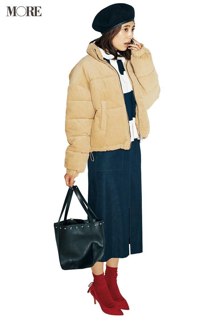 【今日のコーデ】寒さに負けないダウンコートで休日の女っぽカジュアルをちょいスポーティに☆_1