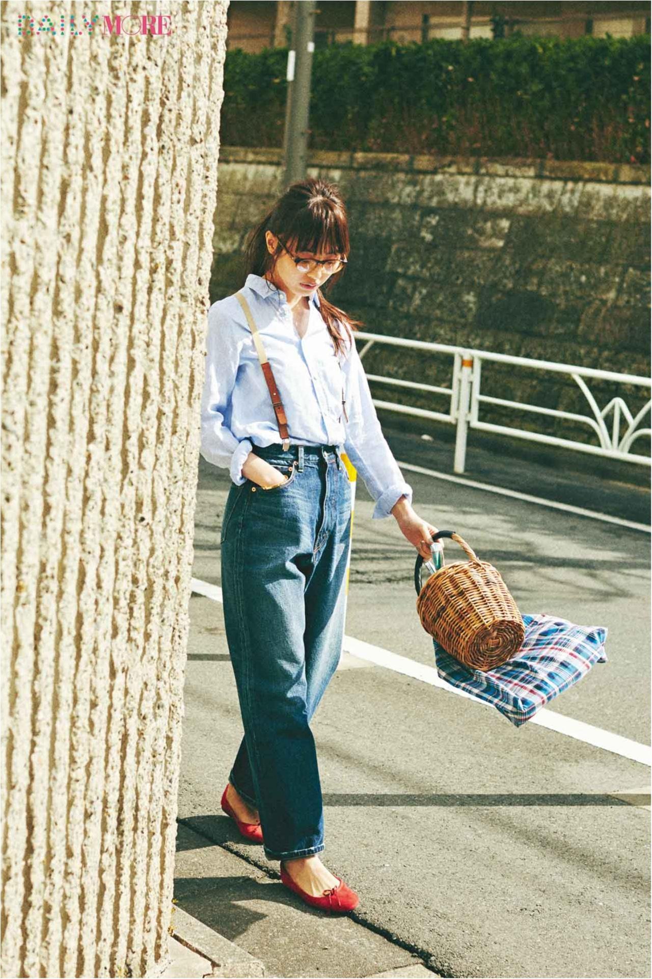 【今日のコーデ/内田理央】街ぶらする日曜はブルーのリネンシャツ×デニムでボーイッシュに!_1