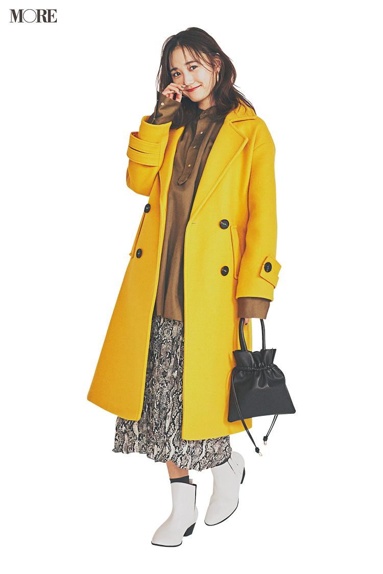 【今日のコーデ】<鈴木友菜>今夜は女子会。イエローのコートとパイソン柄スカートで個性をアピって!_1
