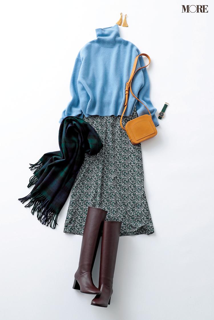 「花柄スカートには、ゆるタートルニット」。このコーデさえ覚えれば2019年の冬は乗り切れる!_4