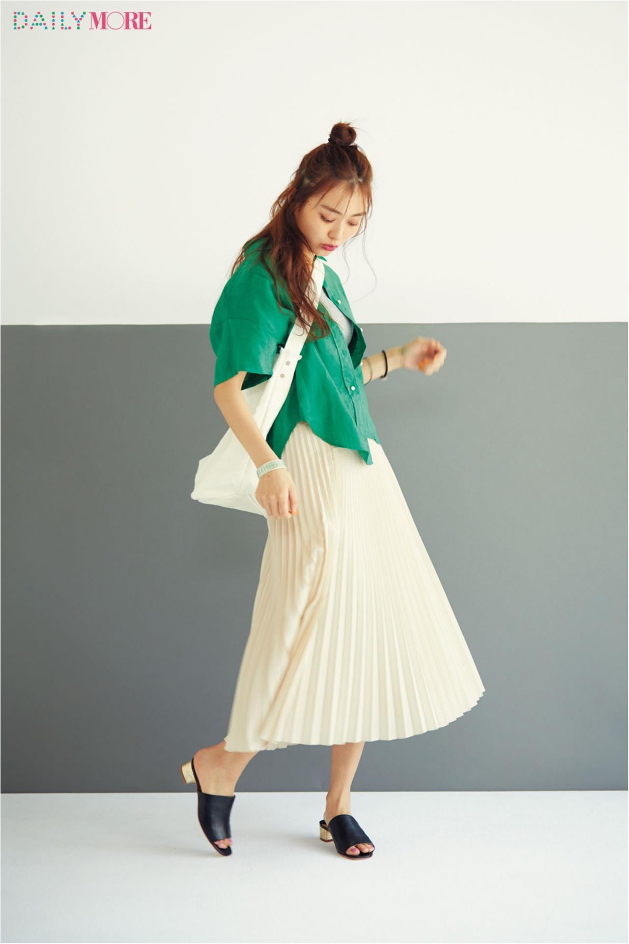 【今日のコーデ/内田理央】鮮やかなグリーンと清涼感あふれる白で、コーデも気分もリフレッシュ♪_1