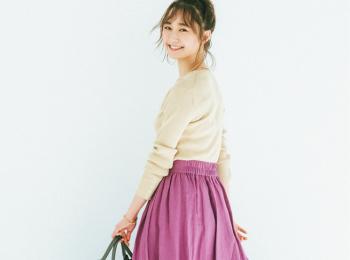 """飛ぶように売れてる春映え""""リネン見え""""スカート。お手入れ簡単、きちんと&軽やかで言うことなし♡"""