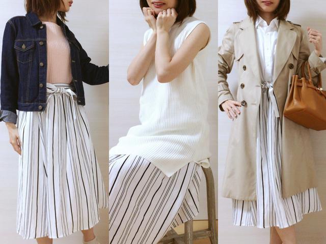佐藤ありさコラボ服『FlowerDays』流行《ストライプ》リネン風スカートは着回しも着心地も楽チン!_1