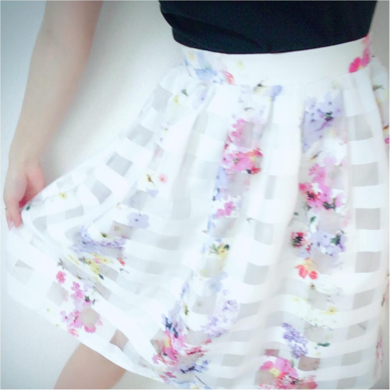 華やぎOLはスカートで作る!tocco closetのシアーチェック×フラワーオーガンジースカート♡_2