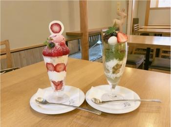 宮島のおすすめスイーツ♡ 濃厚な抹茶と季節のいちごパフェ ♡♡