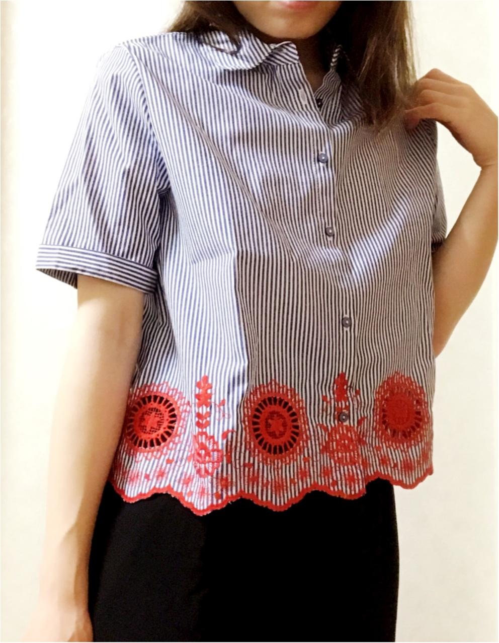 """刺繍 × ストライプにひとめぼれ♡【ZARA】で出会った""""自由になれるシャツ""""_3"""
